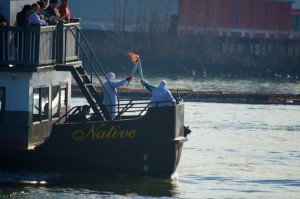 The Torch handoff aboard the Paddlewheeler. Photo: Graham Ballantyne