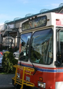 A bus waits near New Westminster SkyTrain Station. Photo: Dennis Sylvester Hurd (via Flickr)