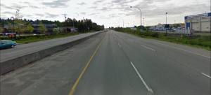 Wide, straight Lougheed Highway, this looks more like a truck route.