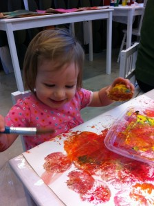 Little Nora enjoyed painting too