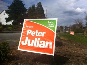 NDP lawn signs have taken over the West End. Photo: Will Tomkinson.