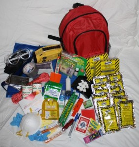 An emergency kit should contain enough food, water and medical supplies to last 72 hours.