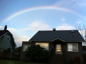 Rainbow-spotting in New Westminster's West End. Photo: Briana Tomkinson