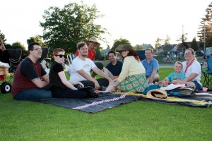 Friends gather together to watch The Princess Bride at Summerfest In Grimston Park