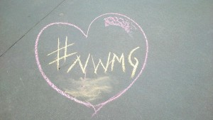 Chalk art illustrating the love of the NWMG (New West Moms Group) on Facebook. At almost a thousand members, the women-only group is a dynamic source of information, support and friendship in New West.