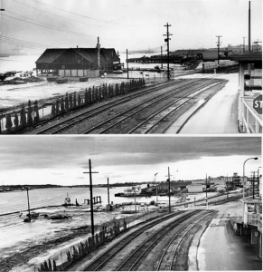 Before & after photos of the location of the famous King Neptune restaurant, after it was forced to close. Photo: New Westminster Museum & Archives.
