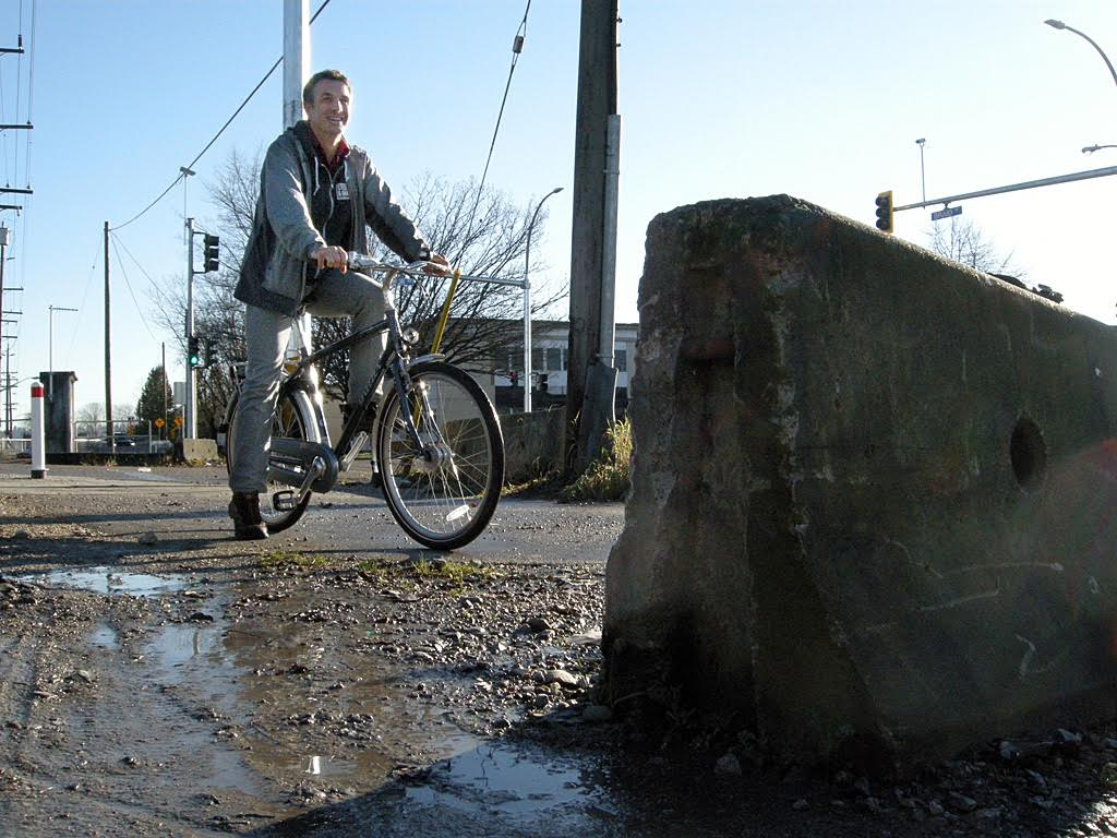 Johnstone says there are still barriers that make cycling difficult in New Westminster, including actual physical barriers that abruptly end designated bike routes. He's also a believer that helmet laws are a barrier to the broad adoption of cycling.