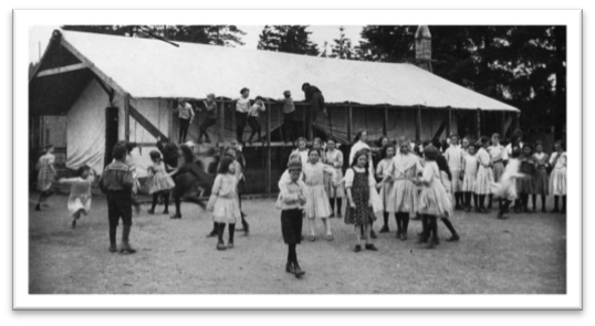 Emergency tents used after the McBride School fire in 1929 NWPL 1795