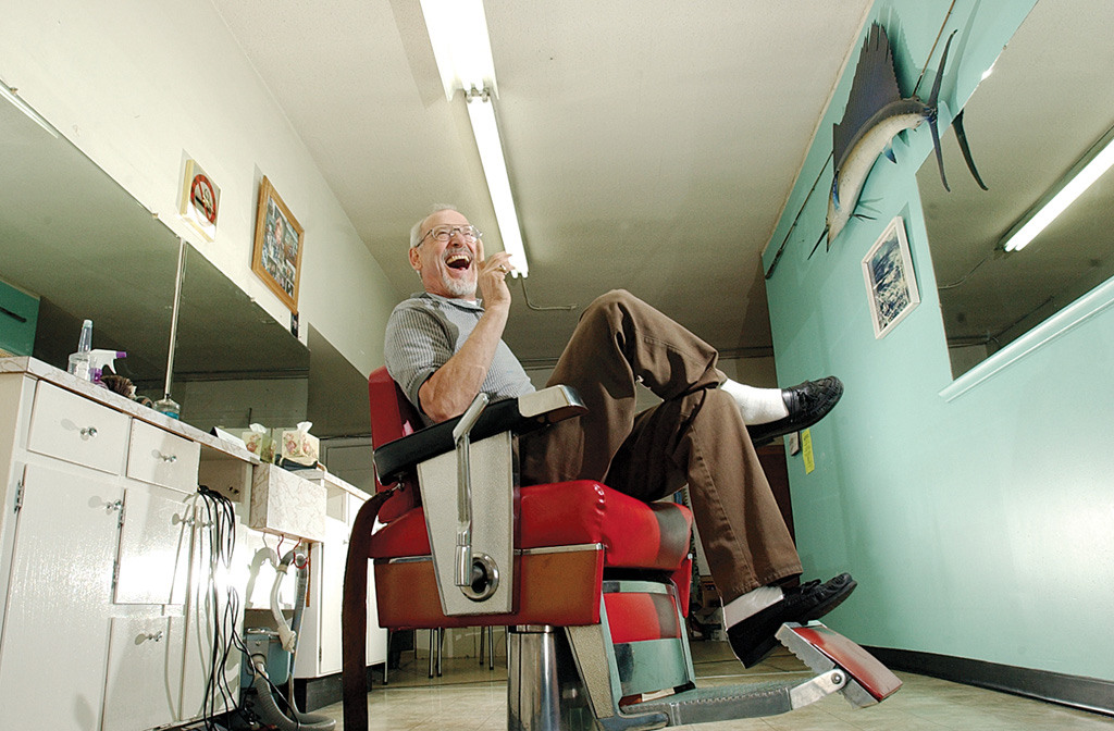 Photo by Mario Bartel The local newspaper introduces readers to characters who give a community character, like Ray Marsolais, who cut hair in Sapperton for 42 years.