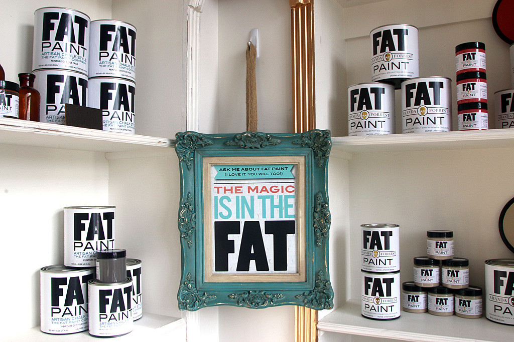 Photo by Mario Bartel Fat Paint retains its distinctive black and white label that the Lamberts originally had printed at Staples when they first started manufacturing the special thick chalk paint.