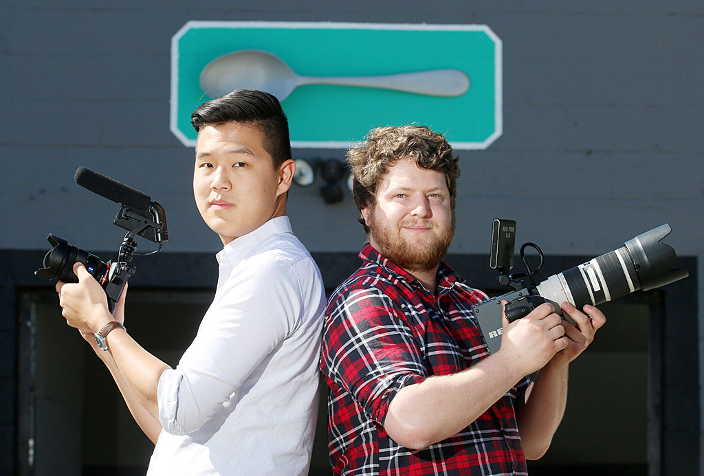 Photo by Mario Bartel Joel McCarthy, right, and Nach Dudsdeemaytha are two-thirds of the creative force behind This Is A Spoon Studios on Auckland Street. The New Westminster filmmakers just won a $10,000 Storyhive grant from Telus to produce a pilot for a possible tv series.
