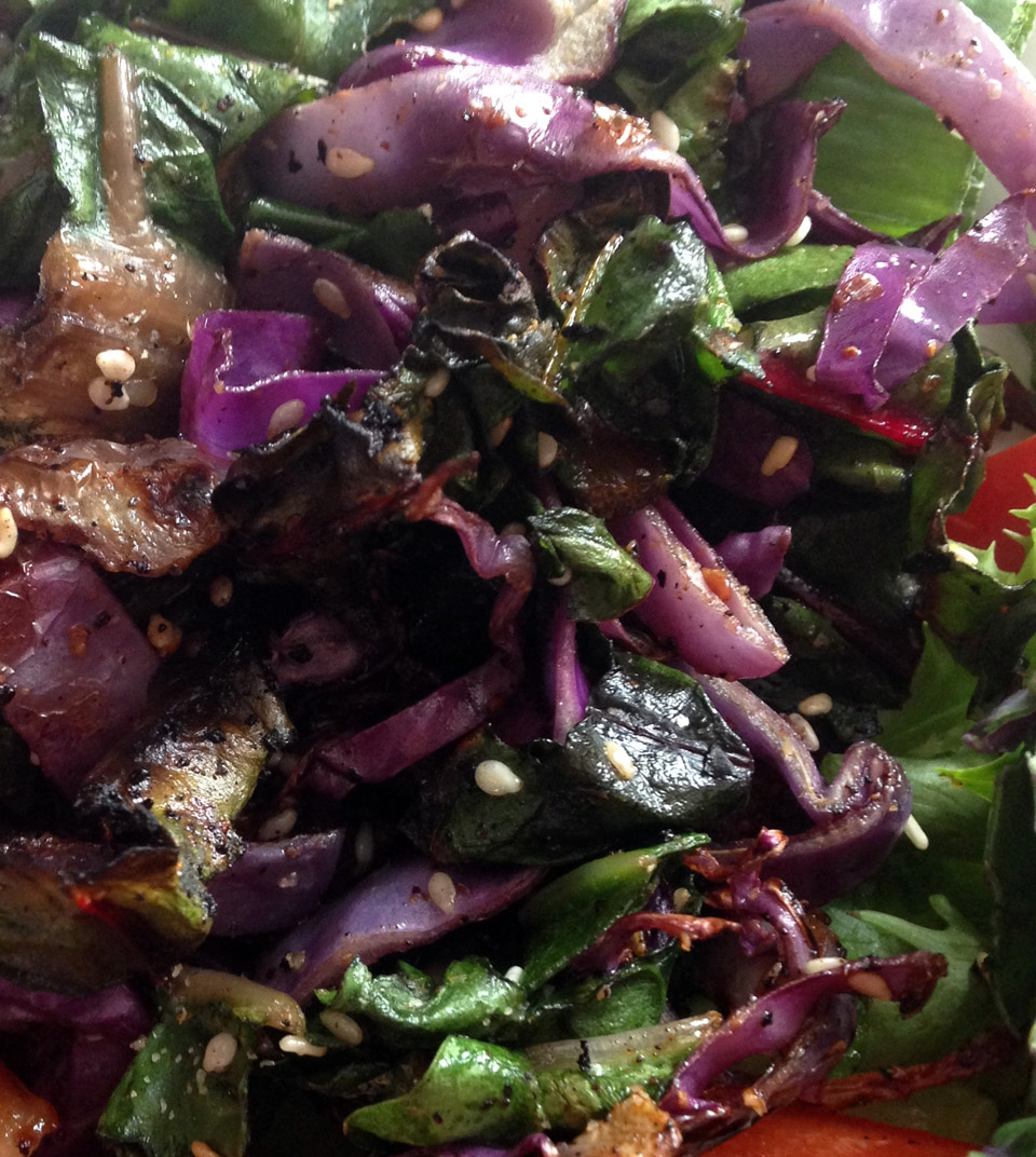 Sautéed red cabbage and rainbow chard